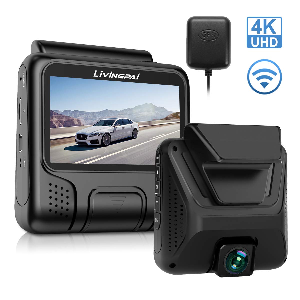 4K Dash Cam 2880 x 2160P UHD Car Camera with WiFi GPS Dash Camera for Cars Driving Recorder with 3 Inch LCD Screen 170°Wide Angle G-Sensor, WDR, Parking Monitor, Loop Recording, Motion Detection by LiviNGPAI