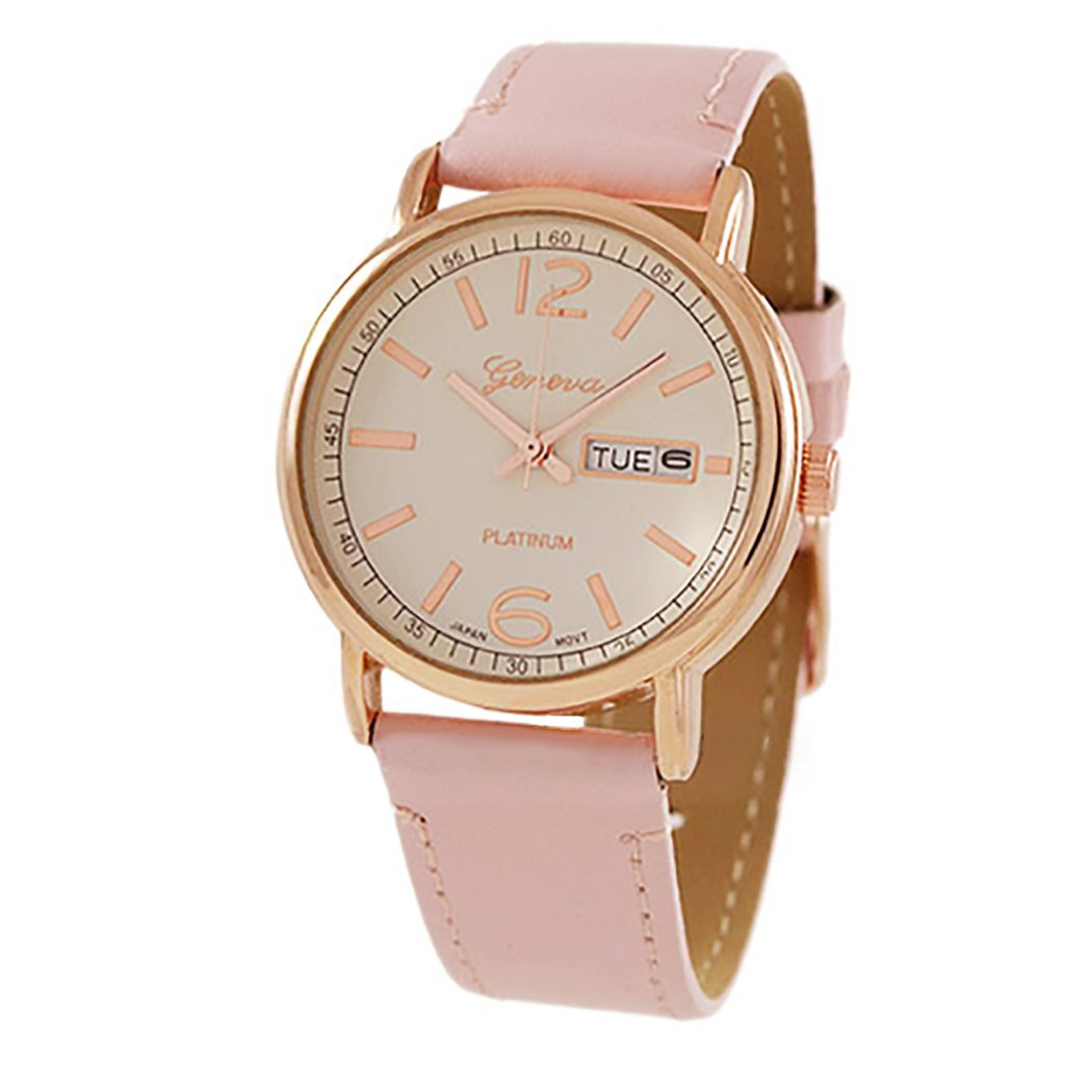 Rosemarie Collections Women's Geneva Fashion Watch with Leather Band (Rose Gold/Pink)