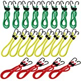 COM-FOUR 20-piece rubber band set with 2 hooks per rubber, in different colors and sizes, luggage clamps (20 pieces)