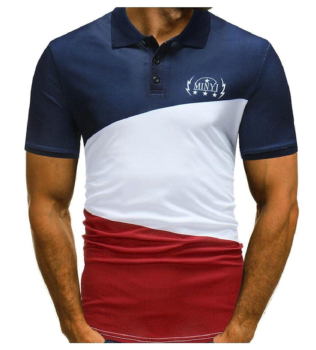 Smeiling Mens Colorblock Polo Shirt Short Sleeve Summer T Shirts At
