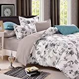 Cloud Dream Duvet Cover Set,Black and White Flowers Floral print,Soft Microfiber Bedding with Zipper Closure