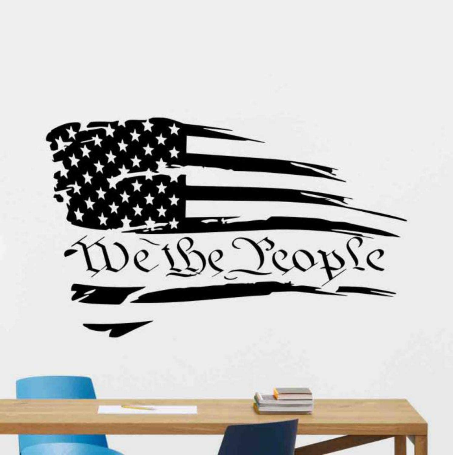 We the People Wall Decal Office Vinyl Sticker US Constitution Distressed American Flag Decal Quotes Office Poster Office Sign Teamwork Gifts Office Wall Decor Family Wall Art Office Mural 1045