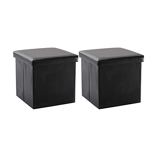 NB Liner Square Storage Ottoman Small Cube Footrest Stool Seat Faux Leather Toy Chest Black 15 X15 X15 Black 2 Pack, Faux Leather