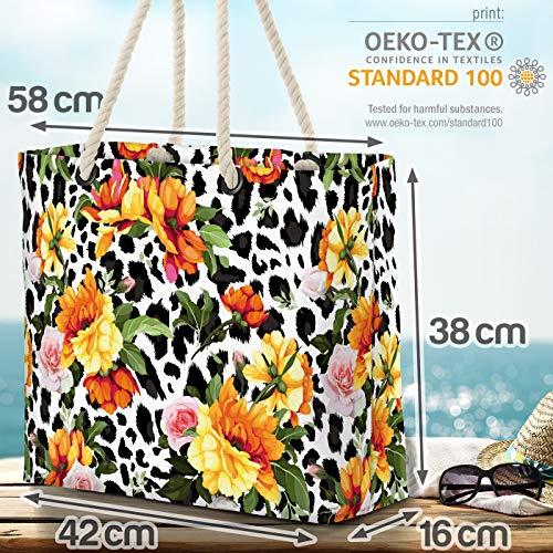 VOID gul pionros Leo-Print strandväska Shopper 58 x 38 x 16 cm 23 L XXL shoppingväska väska resväska Beach Bag