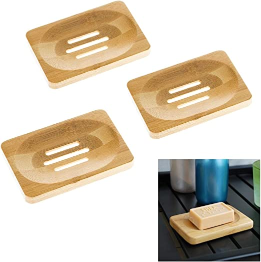Natura Bamboo Bathroom Shower Soap Box Dish Storage Plate Drain Tray Holder Case