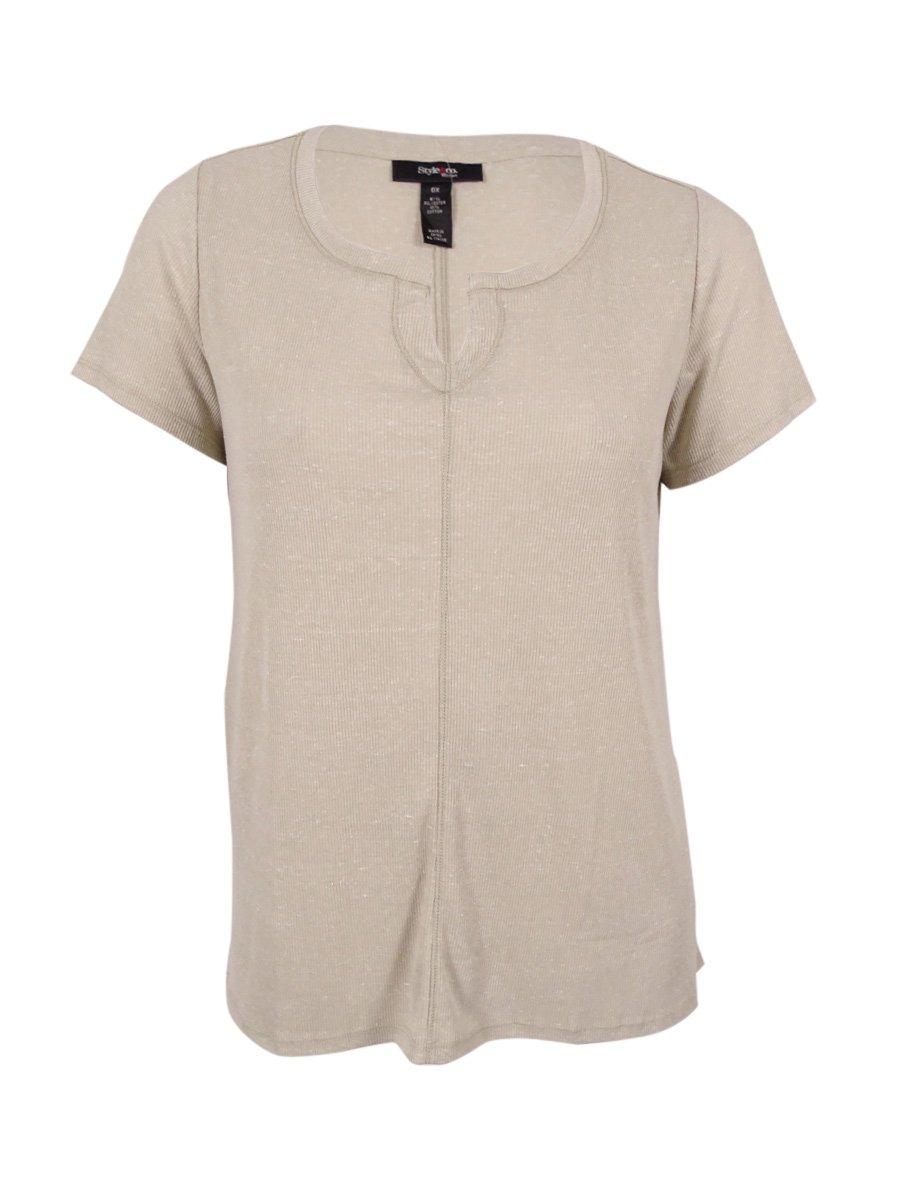 Style & Co. Women's Plus Size Split-Neck T-Shirt (0X, Stone Wall)