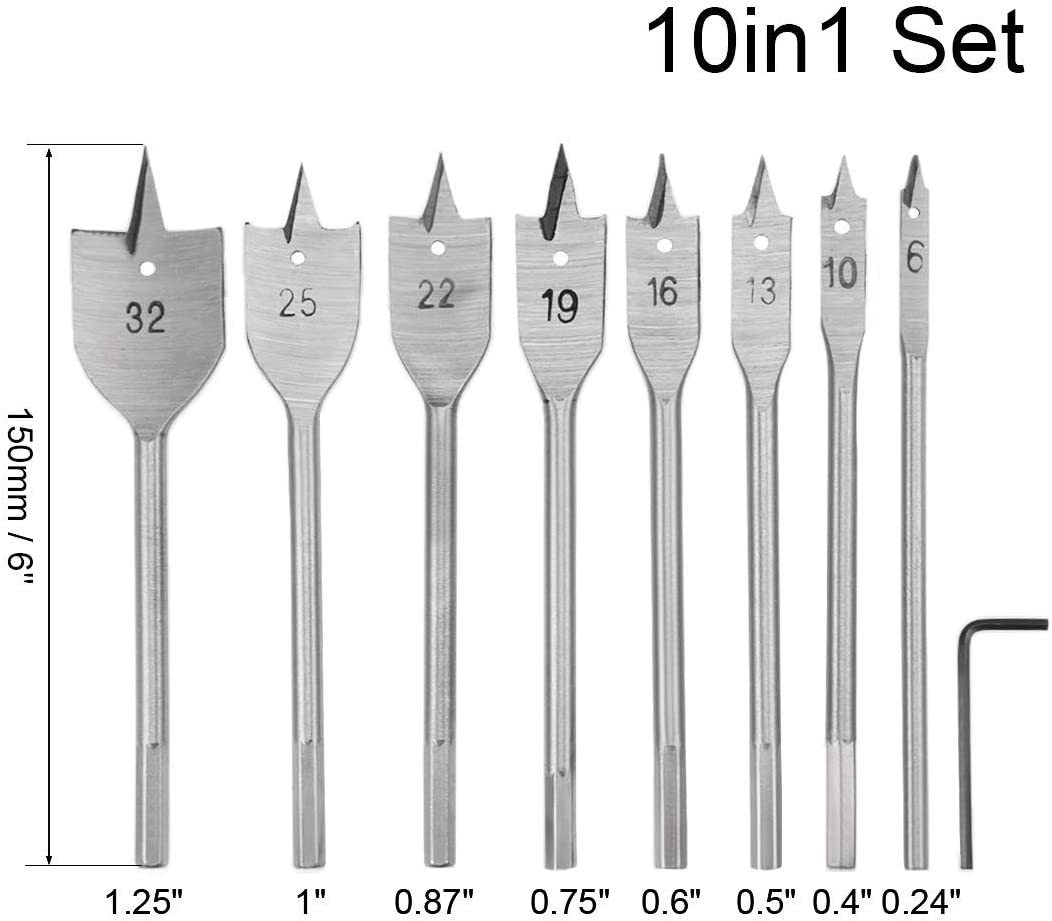 Spade drill bits for wooden pallet Flat tip 6 10 13 16 19 22 25 32 mm Hexagonal shank for carpentry DIY cutting tool high carbon steel 10in1 Set