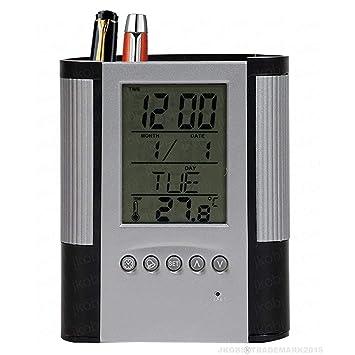 Tuelip Plastic Pen Pencil Holder with Clock Temperature Alarm (10 cm x 8 cm x 8 cm, Silver)
