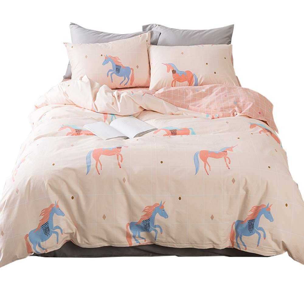 HIGHBUY Girls Unicorn Bedding Full Duvet Cover Premium Cotton Bedding Sets Queen Pink Peach Comforter Cover Reversible Grids Duvet Cover Set for Teens Boys,Children,Gift for Family Friends