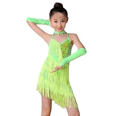 Dreamyth Toddler Kids Girls Latin Ballet Dress Party Dancewear Ballroom  Dance Costumes (Green 70fe343cc4aa