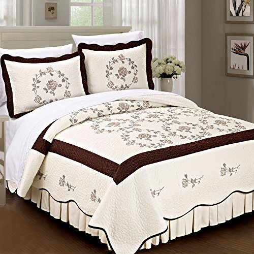 Serenta Classic Rose Flowers 100% Cotton Bedspread Quilt Blanket 3 Piece Bed Set, King, Chocolate