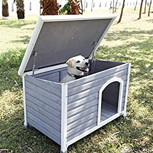 """Petsfit 40.8"""" X 26"""" X 27.6"""" cm Wooden Dog House, Dog House Outdoor"""