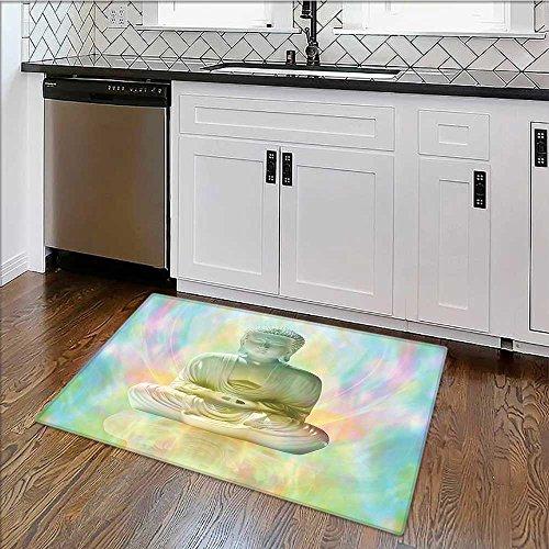 Soft Microfiber Shag Bath Rug Yoga Meditation on Blurred Aura Background Styleative Art Print Weather-Proof and Mold W34