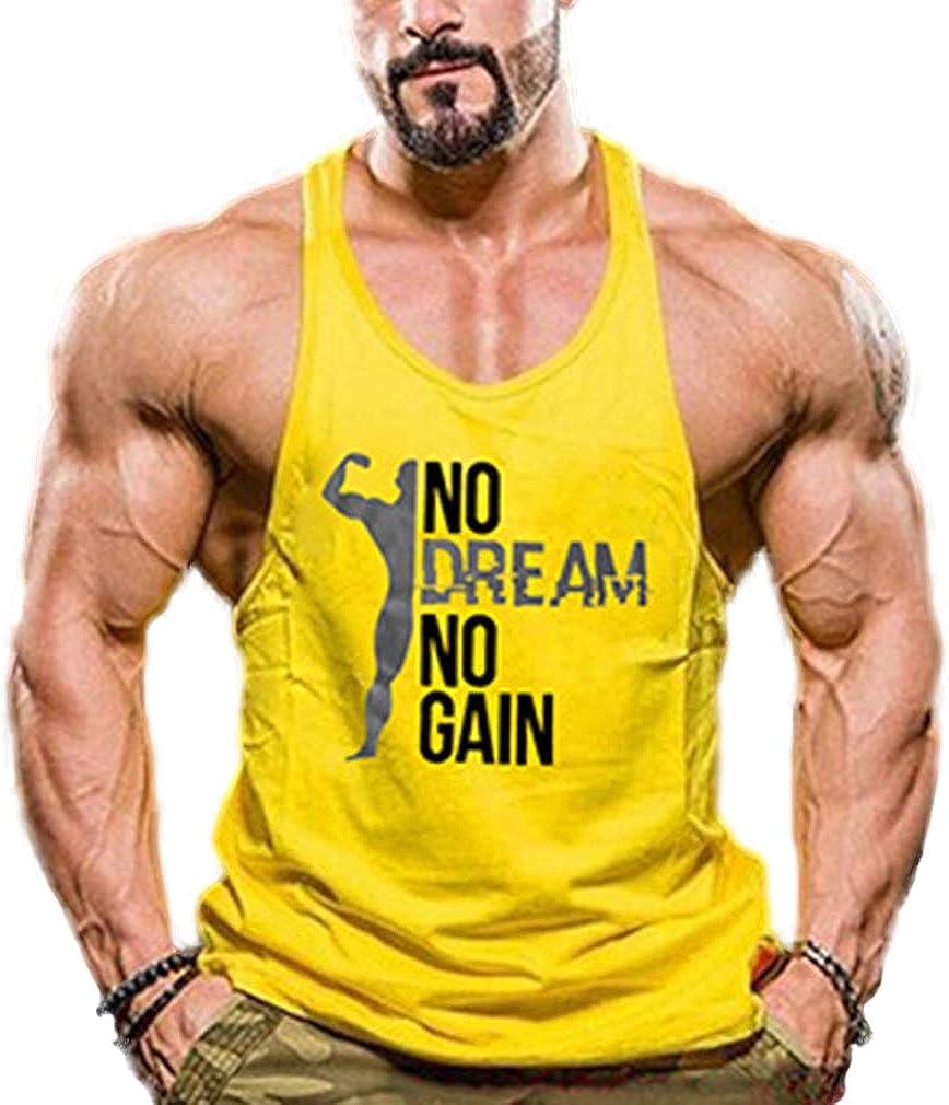 Tofox Mens sans Manches D/ébardeur Musculation S/échage Rapide Casual Gilet Gym Running