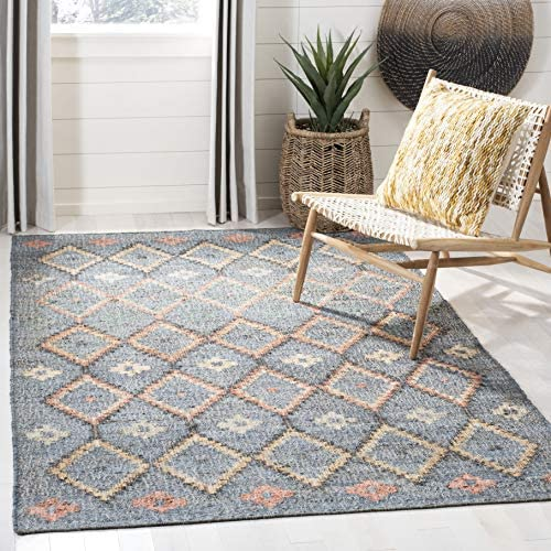 Safavieh KLM753F-9 Kilim Collection KLM753F Charcoal and Gold Premium Wool 9' x 12' Area Rug