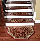 Dean Premium Carpet Stair Treads - Classic Keshan Claret 31'' W (Set of 15) Plus a Matching Landing Hearth Mat 27'' x 39'' (2x3)