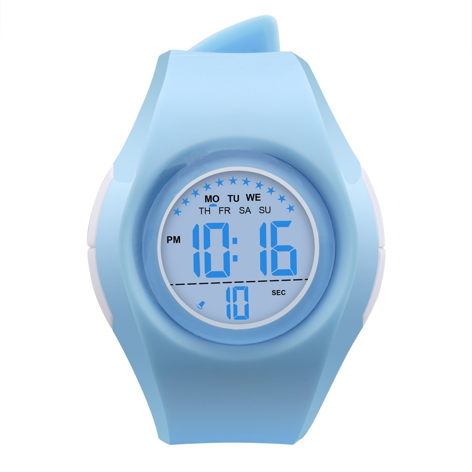 Kids Watch Waterproof Children Electronic Watch - Lighting Watch 50M Waterproof for Outdoor Sports,LED Digital Stopwatch with Chronograph, Alarm,Time Window Child Wrist Watch for Boys, Girls (Blue) by PERSUPER