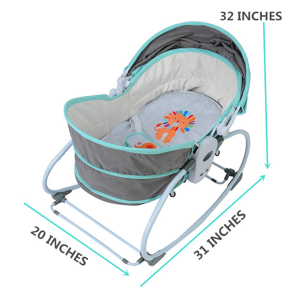 COLOR TREE Newborn Crib 5 IN 1 Multifunctional Rocker Napper Gliding Swing With Portable Sleeper Cotton Crib Bassinet for Bedroom Bed Travel With Canopy Music Toys Newborn Gift Suitable For 0-24 Month