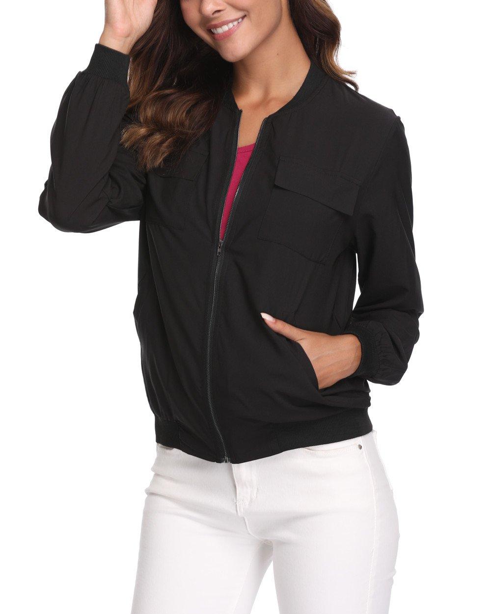 MISS MOLY Women's Lightweight Jackets Zip Up Coat Rib Collar Multi-Pockets Summer Windbreaker Bomber Jacket Outwear