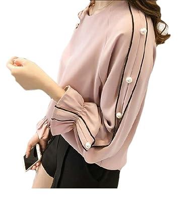 99822fba657 Qiangjinjiu Women Rounded Collar Trumpet Sleeves Beads Solid Color Baggy  Plus-Size Chiffon Dress Shirt