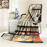 YOYI-HOME Digital Printing Duplex Printed Blanket Wooden Window of a Red Brick Country House Idyllic Pastoral Theme Light Brown Summer Quilt Comforter /W47 x H79