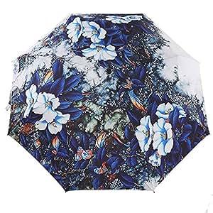 Katoot@ Chinese style ink painting of bule flower sun rain umbrellas for women 3 folding manual vintage fashion umbrella exquisite