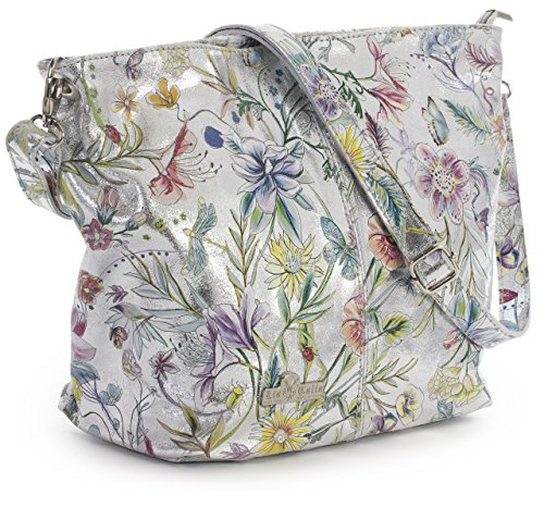 Adal Silver Leather Hobo Floral Genuine Protective Bag Medium Shoulder Bag LiaTalia Italian Metallic with Storage Womens HUnC4A