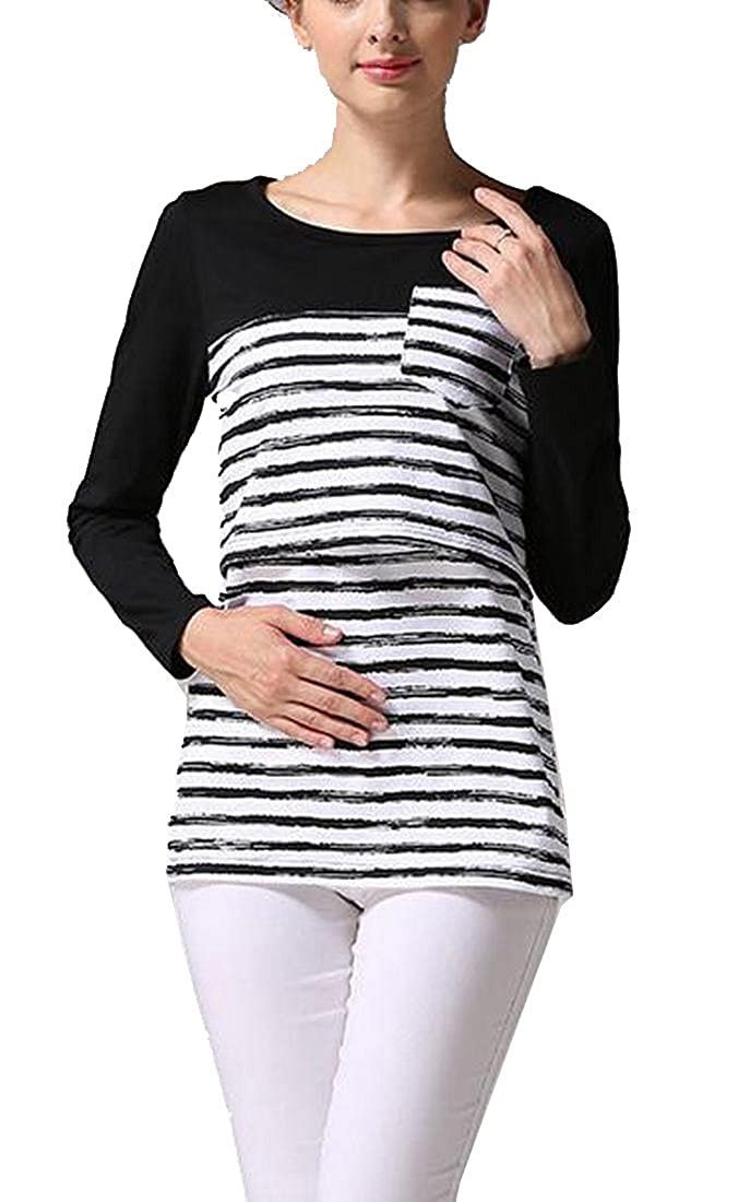 Women's Maternity Nursing Tops Striped Breastfeeding T-Shirt