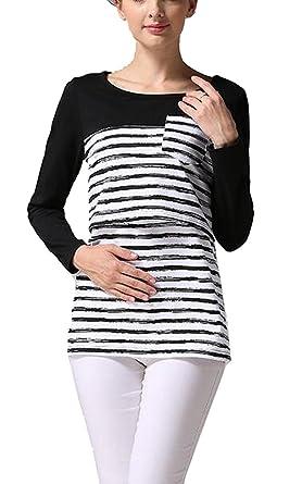 5cd8864a8c7a9 Women's Maternity Nursing Tops Striped Breastfeeding T-Shirt at Amazon  Women's Clothing store: