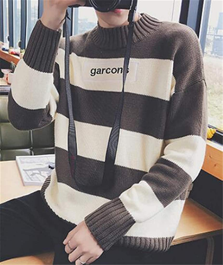 Etecredpow Mens Popular Stripe Stretchy Contrast Color Drop Shoulder Sleeve Crew Neck Knitted Pullover Jumper Sweater