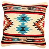 El Paso Designs Throw Pillow Covers, 18 X 18, Hand Woven in Southwest and Native American Styles. Hand Crafted Western Decorative Pillow Cases in Wool. (Yuma 4)