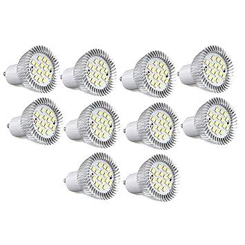 CroLED 10 x GU10 5.5W 16 LED 5630 SMD Lámpara Bombilla Foco 7500K Luz Blanco: Amazon.es: Hogar