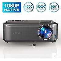 """Beamer Full HD 1080P Native, 4000 Lumen Max 200"""" Zoll LED LCD Video Projektor mit Presenter kompatibel mit HDMI / VGA / Y.Pb.Pr/ AV / USB für Office Powerpoint Präsentationen Heimkino"""
