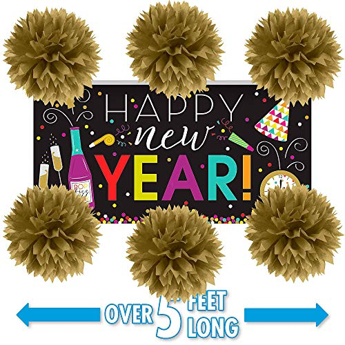 Party City New Year's Wall Decorating Kit, Party Supplies, Includes Colorful New Year's Banner and Pom Poms ()