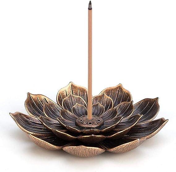 ロータス真鍮の香炉香コーン香スティックホルダーすすコレクタ工芸ホームデコレーション