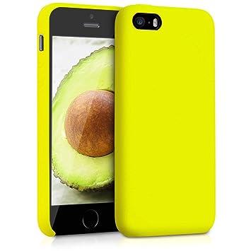 kwmobile Funda para Apple iPhone SE / 5 / 5S - Carcasa de TPU para teléfono móvil - Cover Trasero en Amarillo limón