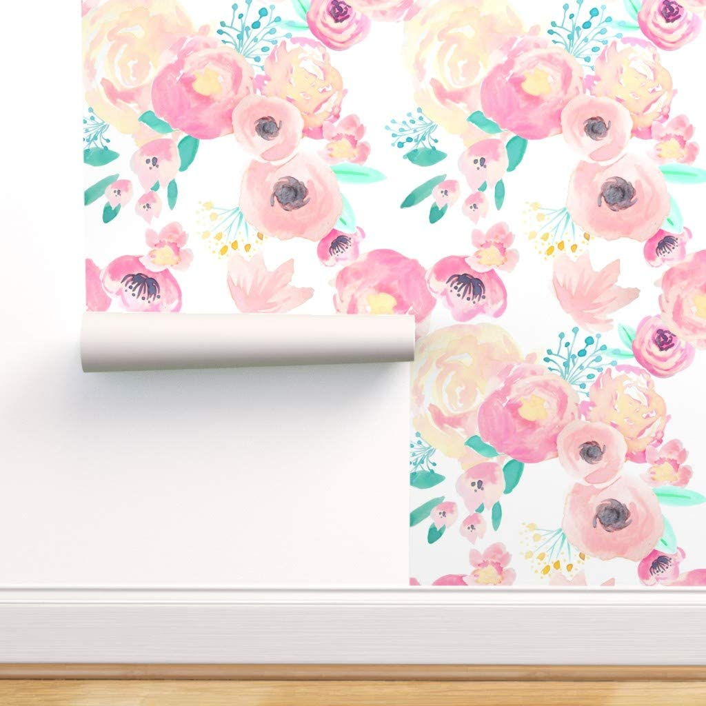 Spoonflower Peel And Stick Removable Wallpaper Floral Watercolor