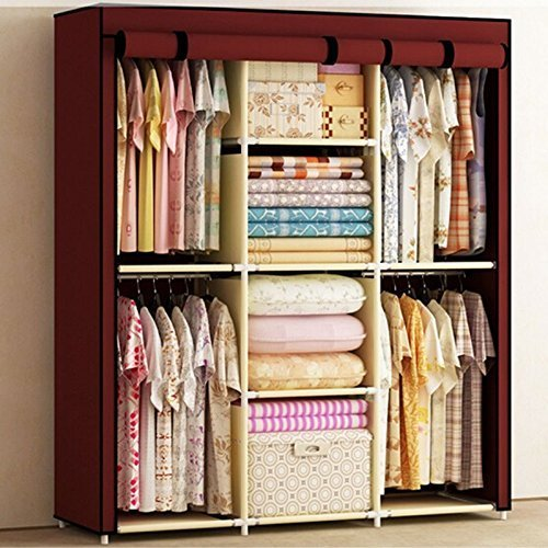 Generic Reinforced Portable Clothes Closet Organization Hangers Wardrobe Armoires Storage Rack New by Generic
