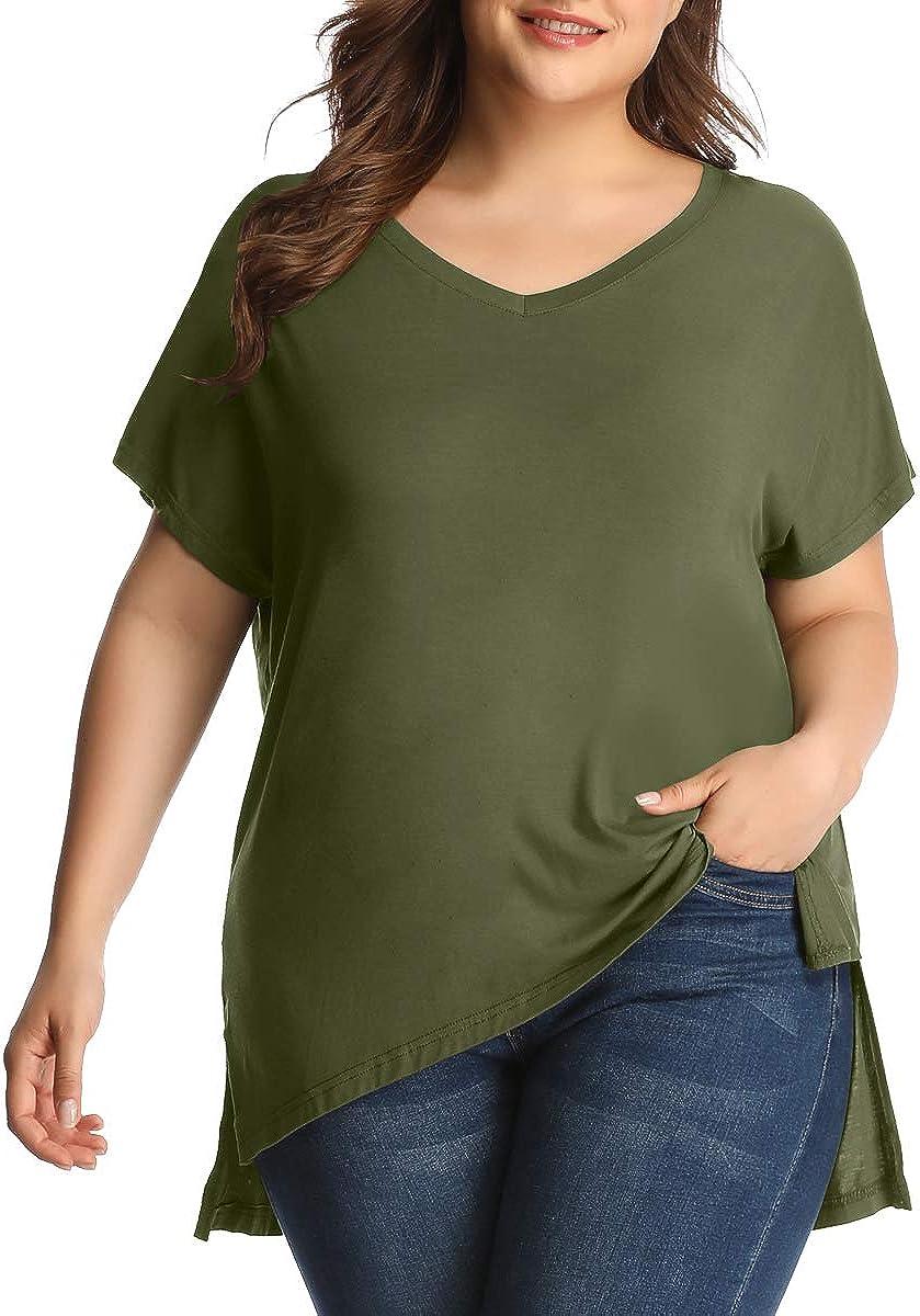 LARACE Women Plus Size Tops Casual Short Sleeve Under Shirts Summer Tee