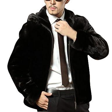 Hombres Abrigo De Piel Sintética De Pelo De Invierno Chaqueta De Invierno Parka Con Capucha Outwear Capucha M: Amazon.es: Ropa y accesorios