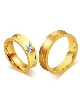 Daesar Mens Wedding Bands Stainless Steel Ring Gold Cubic Zirconia Rings for Couples with Gift Box Size 9