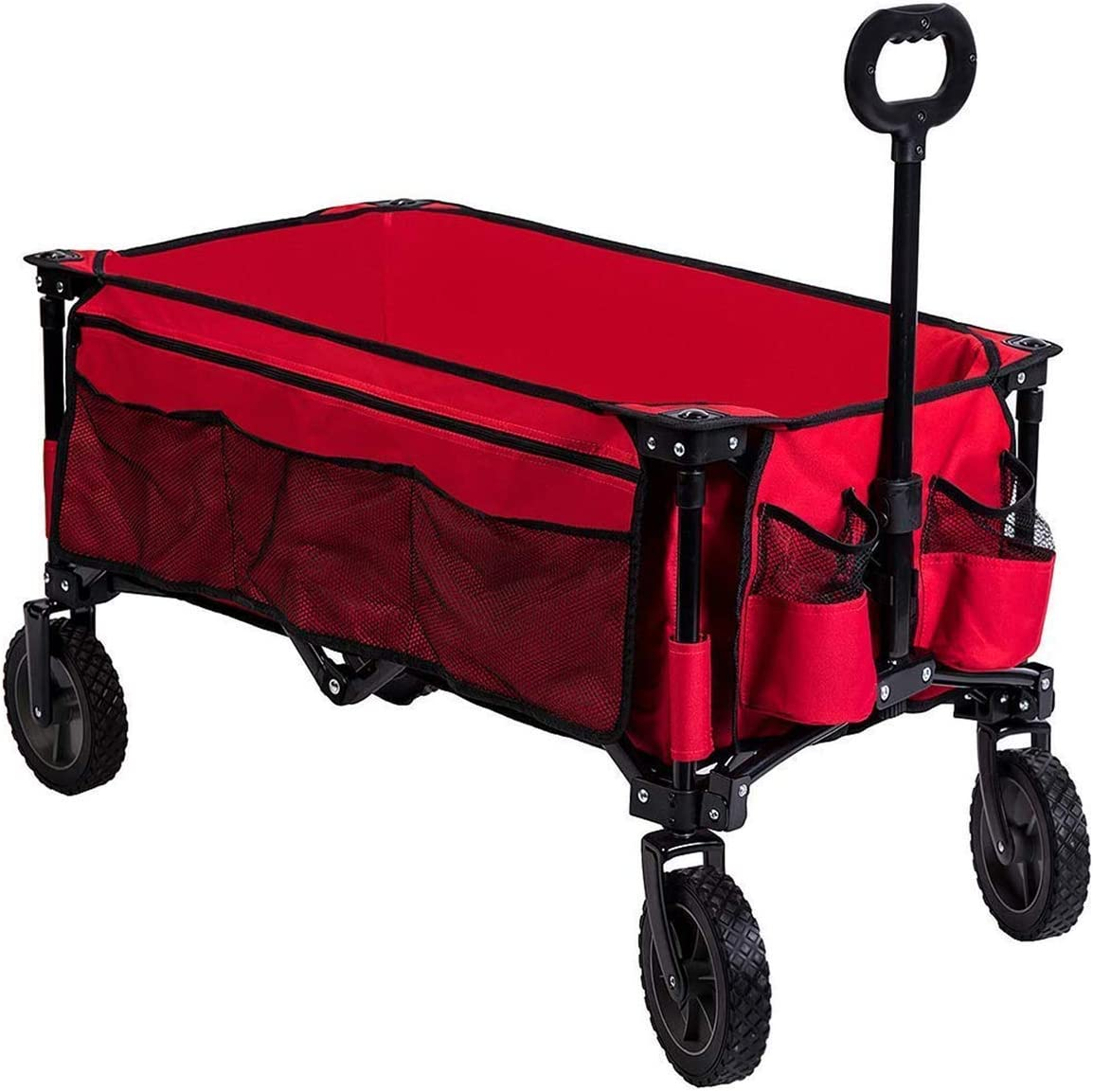 Timber Ridge Camping Wagon Folding Garden Cart Shopping Trolley Collapsible Heavy Duty Utility Use with Side Bag and Storage Bag