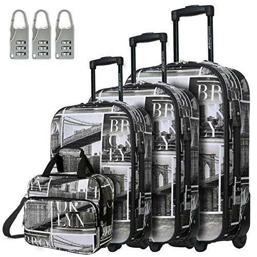 DAVIDJONES Womans Vintage 4 Piece Luggage Set with Brooklyn Prints on Sale