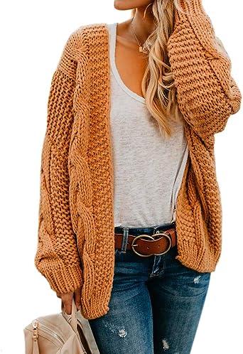 Breathable Fashion Womens Twist School Wear Boyfriend Pocket Open Front Cardigan
