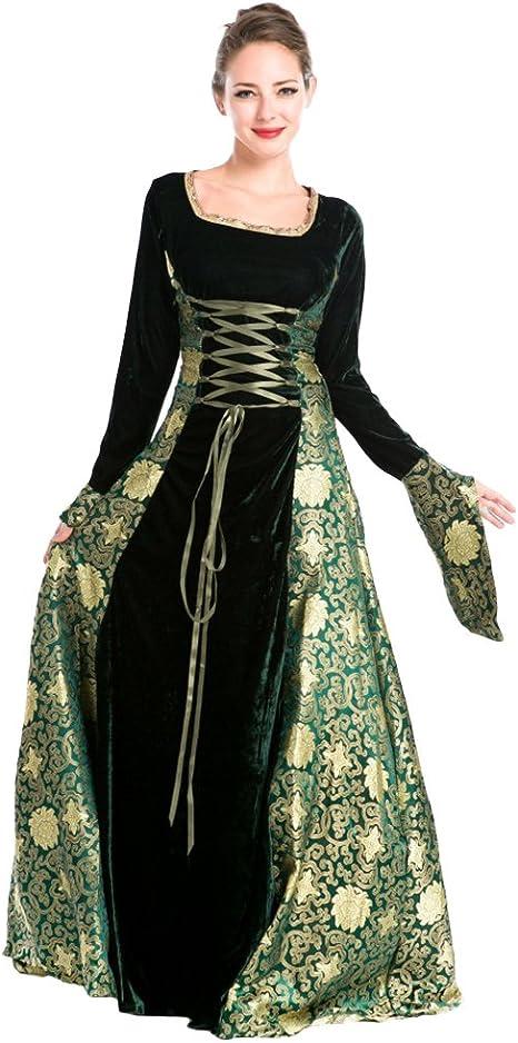 JINZFJG Disfraz Medieval Mujer Vestido Largo Halloween, Verde ...