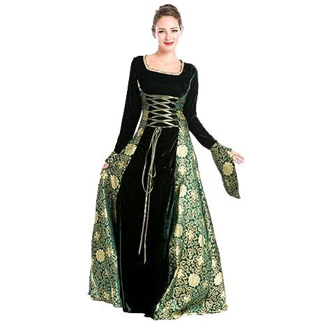 Free Fisher Disfraz de Reina Diosa Princesa Medieval Virgen María Mujer Traje Gitano Estampada Sexy Halloween Costume Cosplay para Carnaval ...
