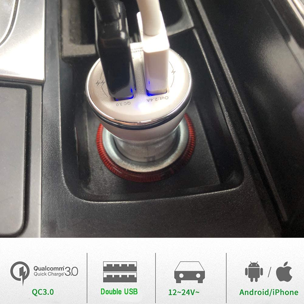 Black Smart 2.4A car Adapter Compatible Galaxy S9//S8//Note9//Note8 Apple iPhone 11//11pro//Xs Max//XR//X//8 and More PIEROCK 30W Fast Dual USB 5.4A Phone car Charger,QC 3.0 3A