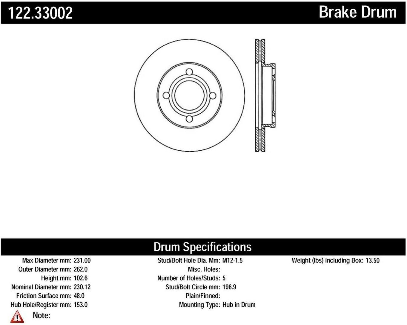 Centric Parts 122.33002 Brake Drum