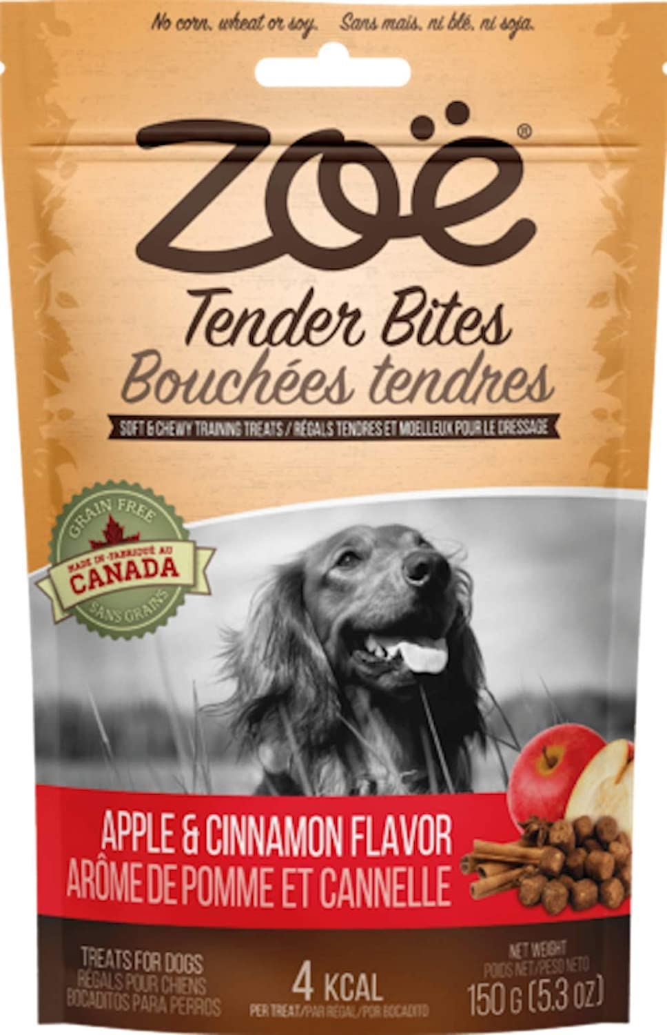 Zoe Tender Bites for Dogs, All Natural Dog Treats, Apple and Cinnamon, 5.3 Oz (Package May Vary)
