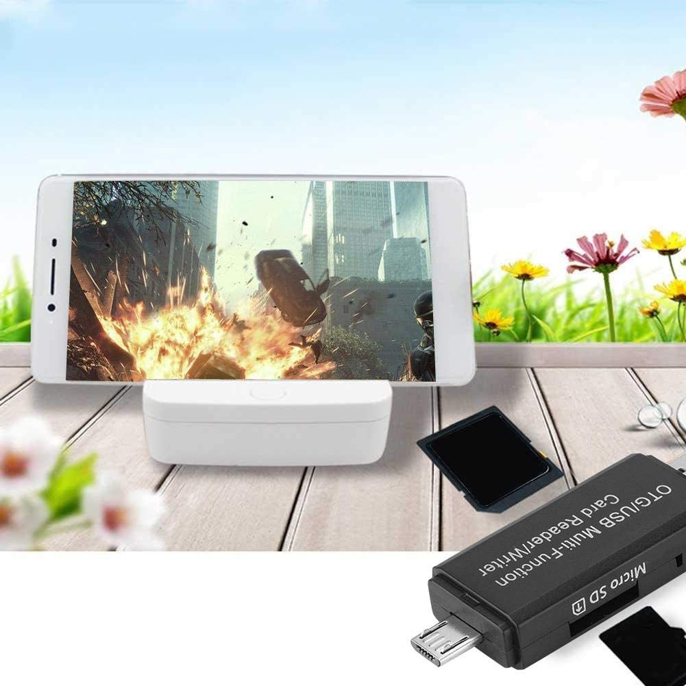 Zopsc Card Reader Plug and Play 480Mbps Transmission Speed Black 2 in 1 Port Design Multi-Function OTG//USB//Micro SD Card Reader for PC and Mobile Phone